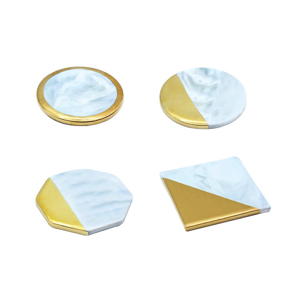 Premium Marble Coasters Art Coasters Gold Edge White Marble Stone Polished Coasters Round Square Hexagonal Designs Gold Edged Coasters Use for Drink Tea and Coffee (White 2)