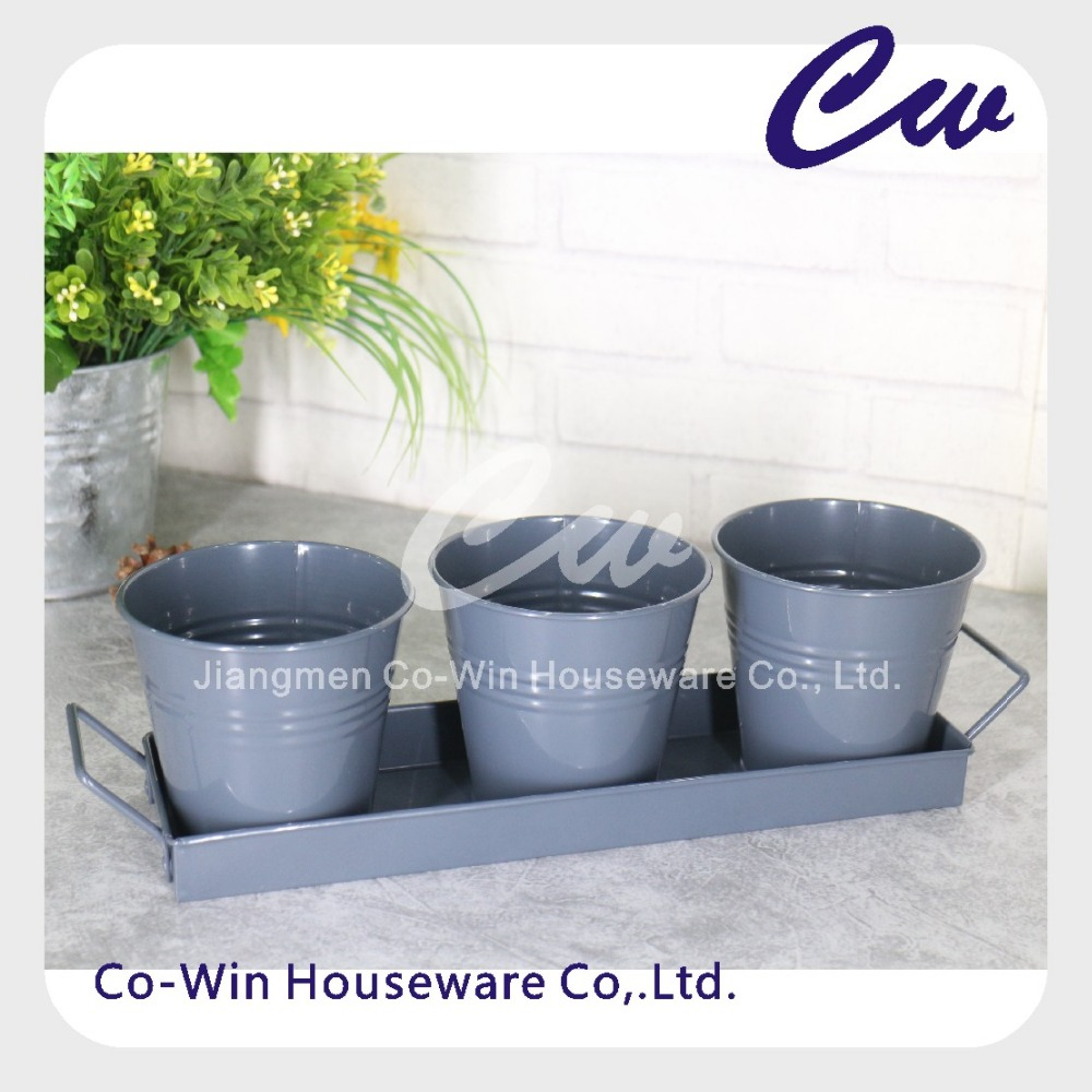 Set of 3 Garden Metal Plant Pot / Herb Pot /Galvanized Steel Flower Pot With Tray / Planter Pot
