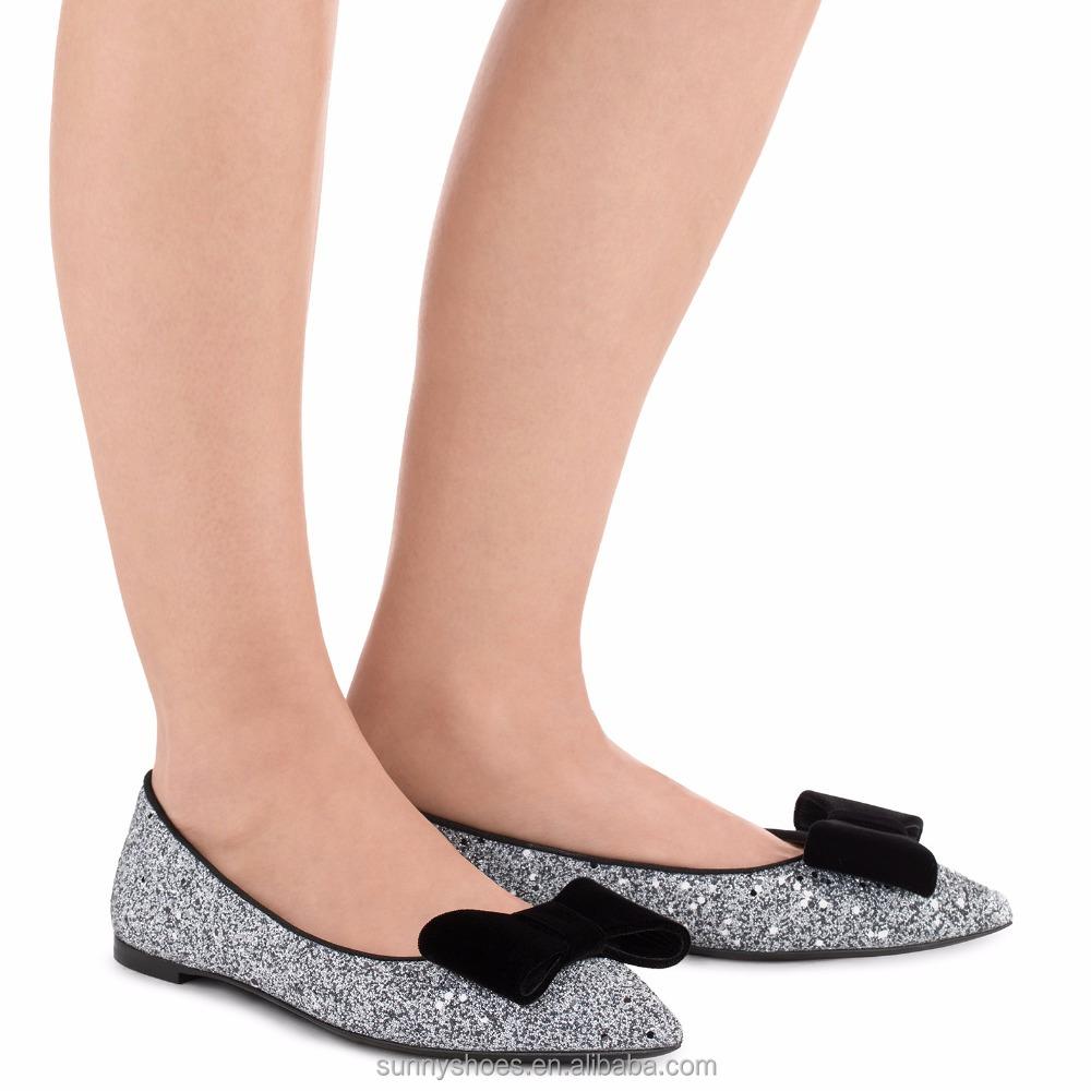 2017 bowknot fashion decorated glitter women heel flat ladies shoes rSwz6qr