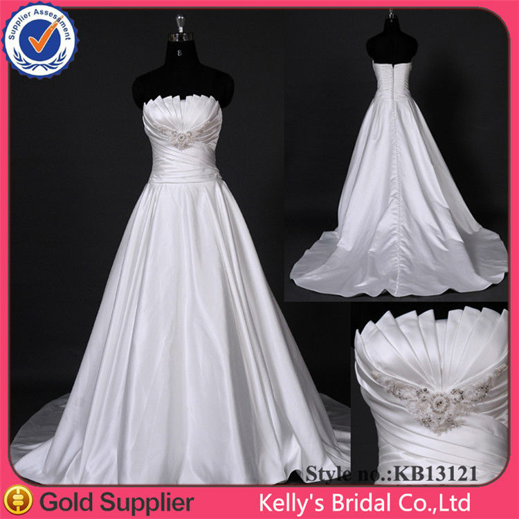 new white ivory satin pleating beading wedding dress bridal dress custom size 6 8 10 12 14 16 18