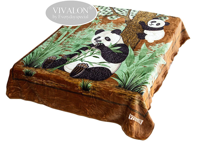 VIVALON Ultra Silky Soft Heavy Duty Quality Korean Mink Printed Panda Brown Reversible Blanket King Size