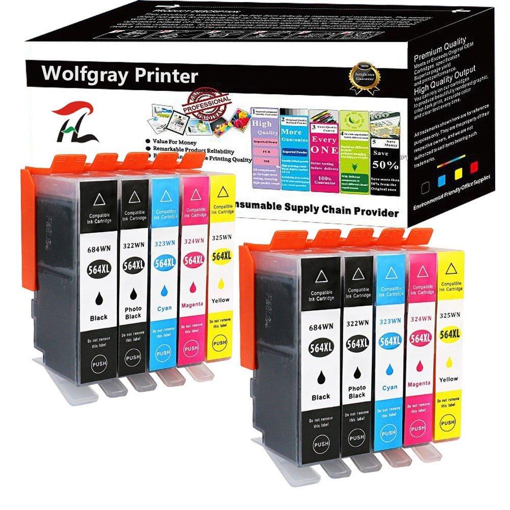Wolfgray 10 PK Compatible Ink Cartridge HP 564XL Replace for Photosmart 5510 5514 5515 5520 6510 6520 7520 6510 6515 7510 7515 7525 7560 B8550 C6380 D7560 D5460 D5463 D5468 D7500