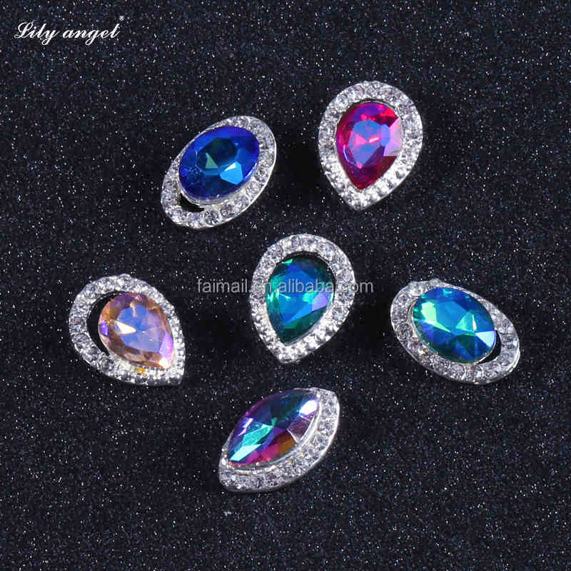 Flatback Waterdrop rhinestone stone to decorate nails 3d vitrail sticker with alloy edged