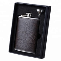 8-Ounce Leather Wrapped Stainless Steel Hip Flask Set With Funnel