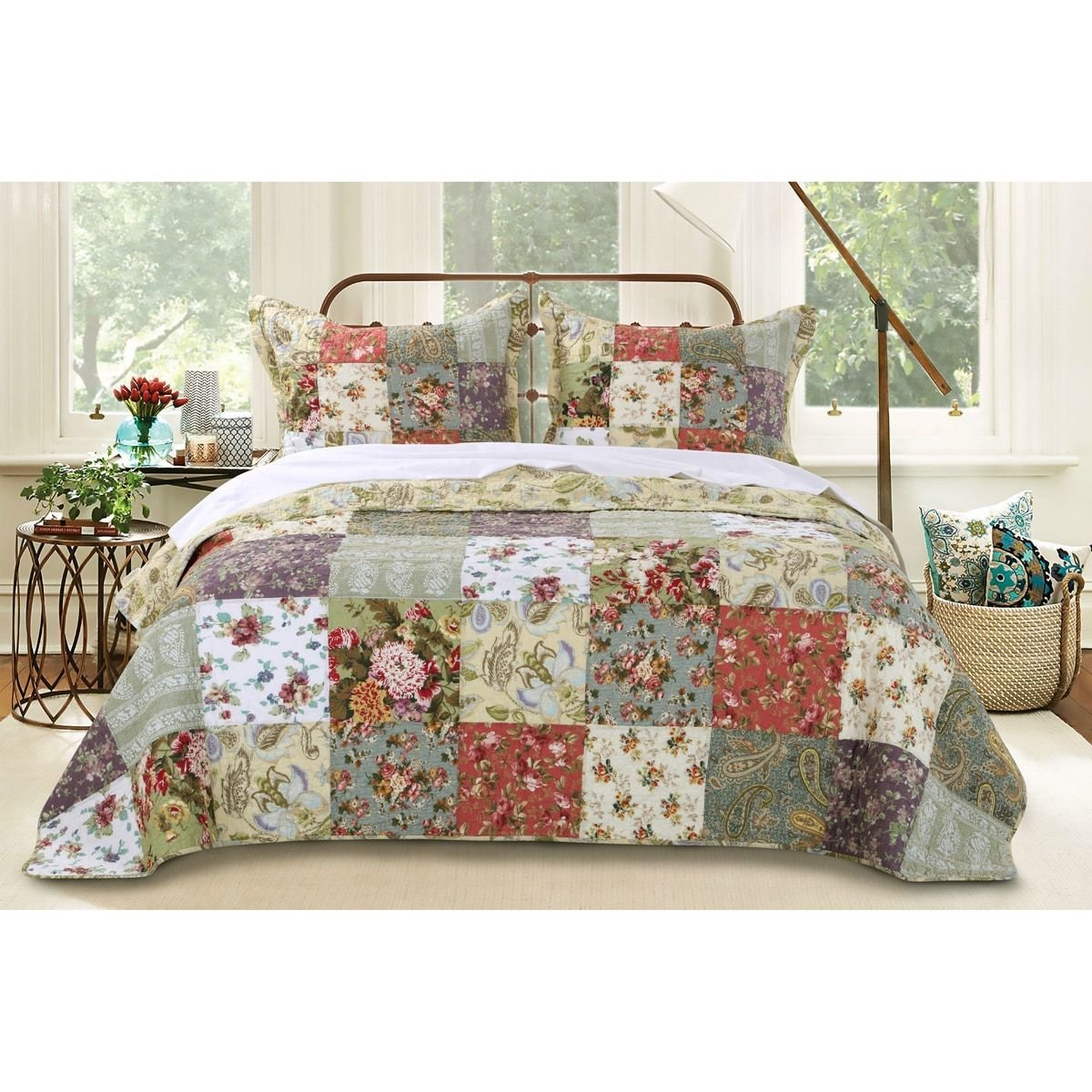 3 Piece Oversized Green Purple Patchwork Bedspread King Set, Quilted French Country Damask Floral Rustic Flowers Pattern Prairie Themed Farmhouse Charm Cottage Oversize To The Floor Checked, Cotton