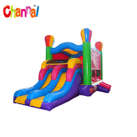 Hot air ballon combo bouncer colorful inflatable jumping bounce house