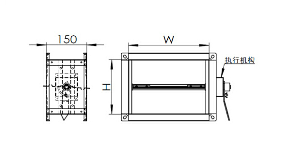 rectangular single-blade butterfly air duct damper