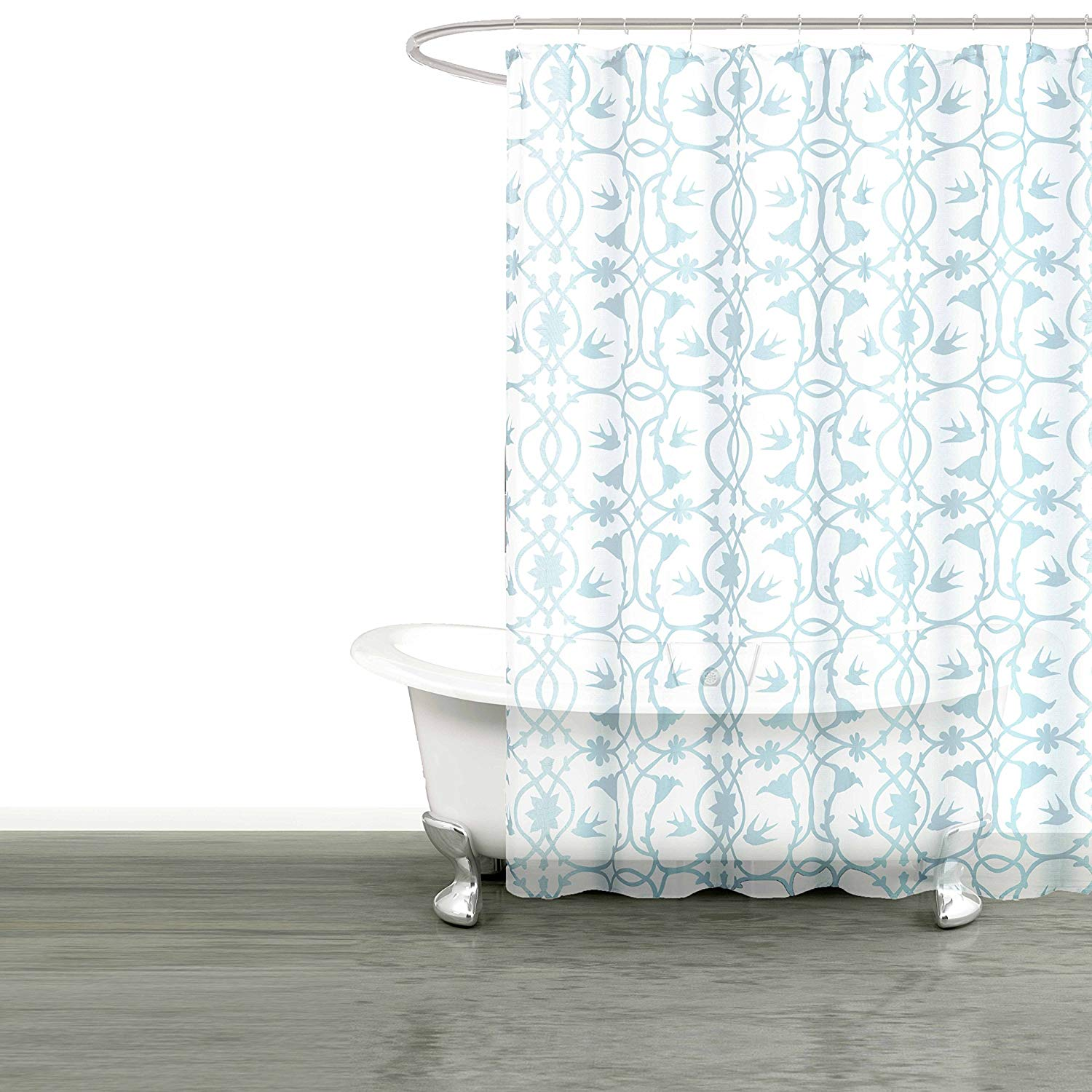 Get Quotations Bathroom And More Collection SHEER Fabric Shower Curtain White With Blue Bird Flower Vine