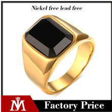 Nordic Minimalist Golden Man's Rings Big Black Agate Stainless Steel Rings Male Jewelry