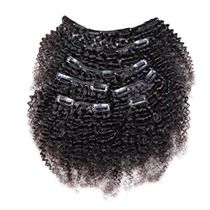 Natural Afro Kinky Curly Clip Ins In 4B 4C Natural Hair Extensions, 7Pcs / Set