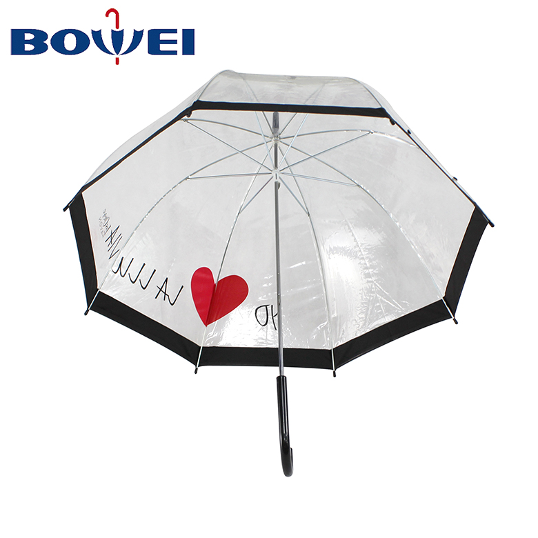 2020 Creatively Love Rain Windproof Straight Transparent Clear Bubble  Dome Umbrella with Logo Printing Clear Dome Umbrella