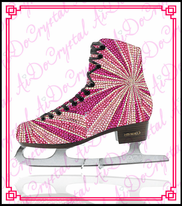 Aidocrystal 2016 popular crystal covered figure ice skating shoes for ladies