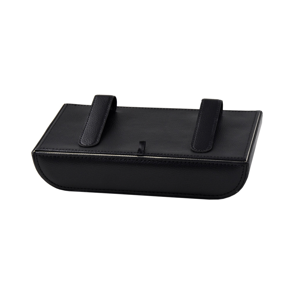 Custom Luxury Black PU Leather Tissue Box with Clasps For Car