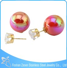 Ladies Double Side Earrings Designs Plastic Ball 22k Gold Stud Earrings
