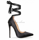 Black Satin Lace Up Court Shoes sex high heel pump shoes woman