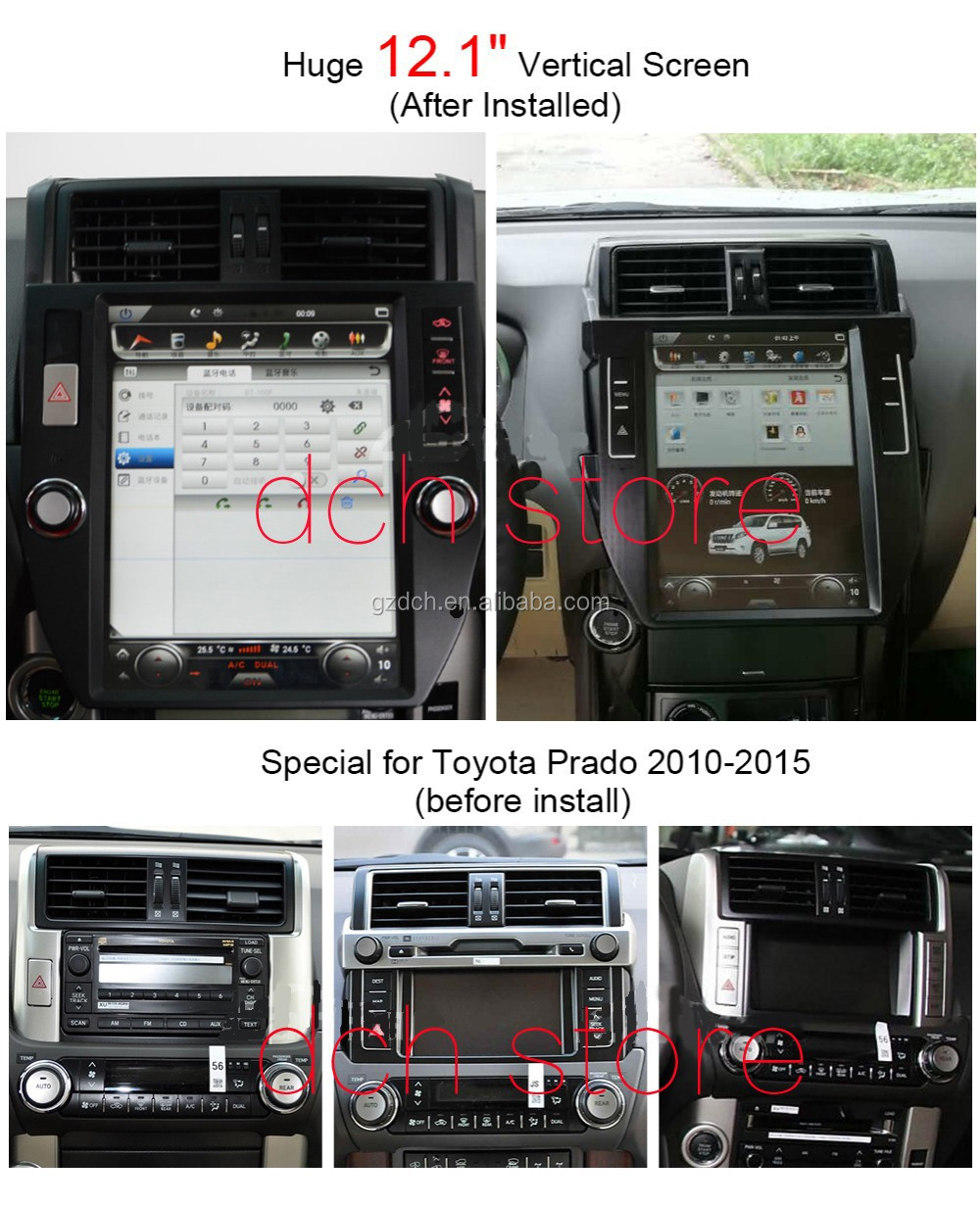 12.1 inch 1280*800 android car dvd player for Toyota Land Cruiser Prado 2014-2016 tesla screen style quad core 32G WS-1213