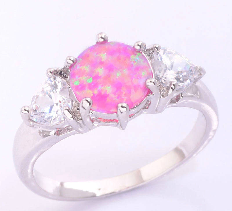 Hot Sell ! Elegant & Beautiful Wholesale & Retail For Women Jewelry Pink Fire Opal & White Topaz Silver Ring Size 6 7 8 OJ7073