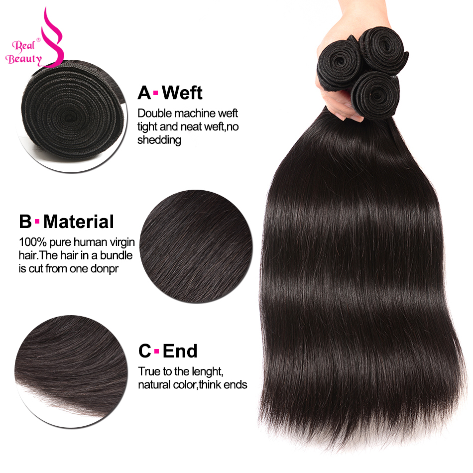 Real Beauty Brazilian Straight Hair 3 Bundles With Lace Closure Free Part With Baby Hair Non Remy Human Hair Bundles Free Ship (3)