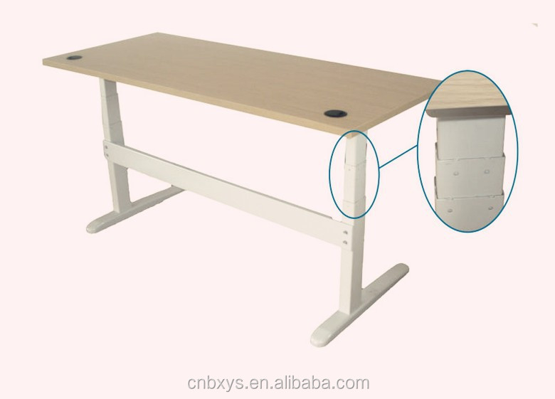 White Melamine Dual motor GER-cylinder electric height adjustable office computer table/desk design with two metal frame legs