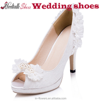 China wholesale white wedding shoes middle heel women peep toe shoes for party