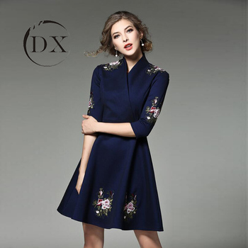 Western Woman Lady Fashion Plus Size Embroidered V Neck A Line Dress