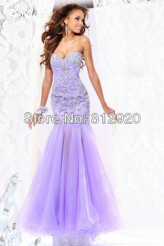 ED207 Floor-length Long Design Lilac Tulle Skirt Sweetheart Sequin Mermaid Prom Dresses Purple