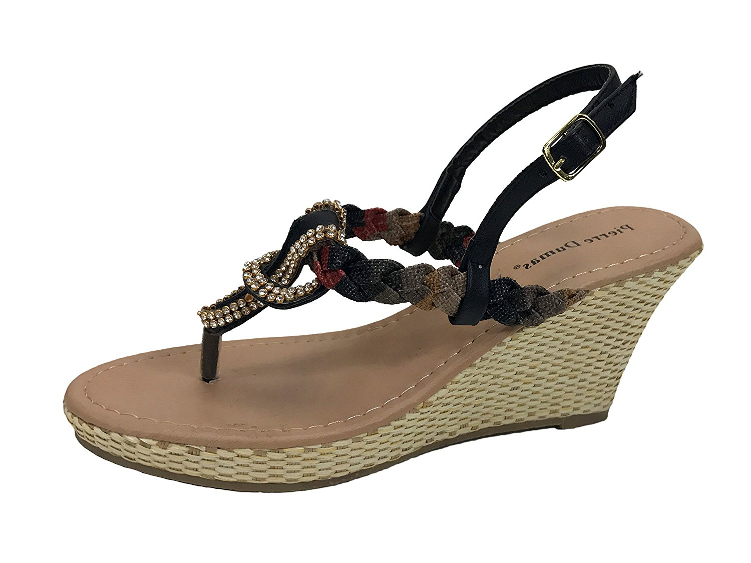 ed6a72f8d Get Quotations · Pierre Dumas 22318-555 Ivana Braided Embellished Wedge  Sandals