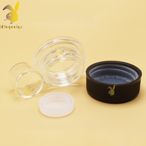 3ml cheap storage glass jar, 5ml skin care cream glass jar, 7ml/9ml clear round glass jar with black cap