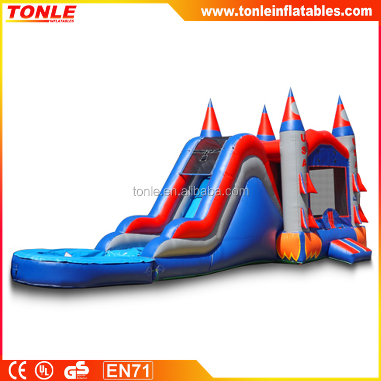 new design Rocketship inflatable bouncer slide Combo with Pool, inflatable castle slide combo