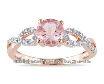 rose gold plated morganite and flat diamond ring hippie gemstone engagement rings - Hippie Wedding Rings