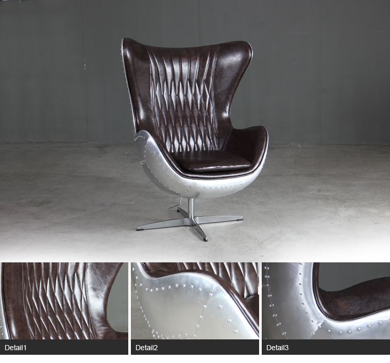 Arne Jacobsen Egg Shaped Chair With Aluminium Back , Luxury Modern Office  Furniture