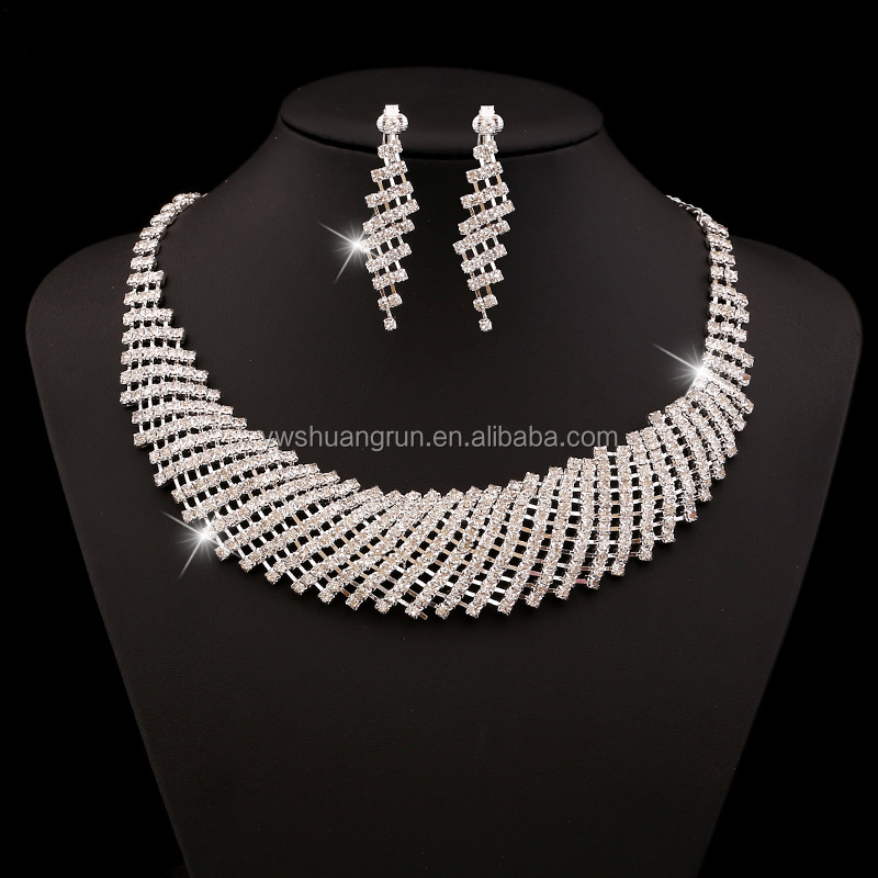 Wholesale wedding party jewelry,shining crystal jewelry set for girls