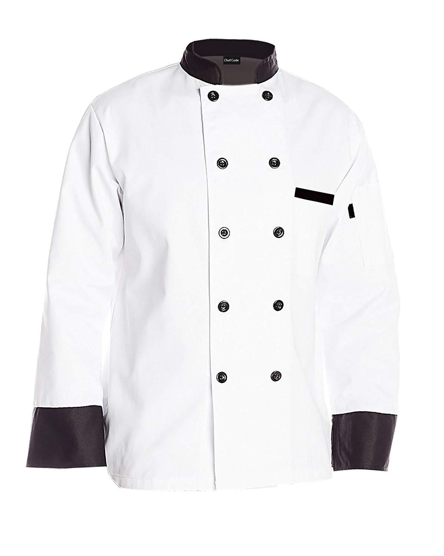 Chef Code Executive Chef Coat with Black Trim Unisex CC120