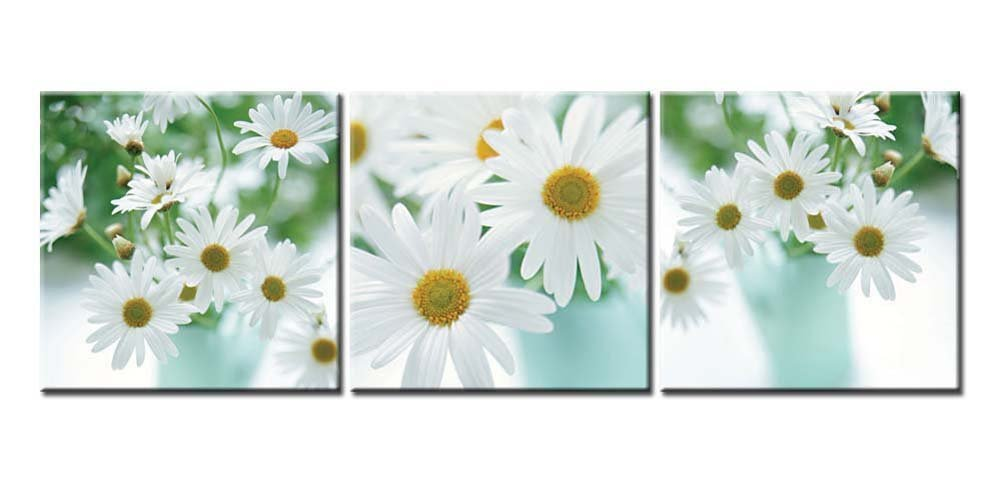 Canvas Print Wall Art Painting For Home Decor Floral Still Life Of White African Daisy Flower In Vase With Green Leaves On White Background Gerbera Daisy 3 Pieces Panel Paintings Modern Giclee Stretched And Framed Artwork The Picture For Living Room Decoration Flower Pictures Photo Prints On Canvas