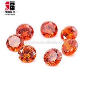 hight qualified wholesale price Grown diamond cut Fake diamond light orange cz gemstone for jewelry