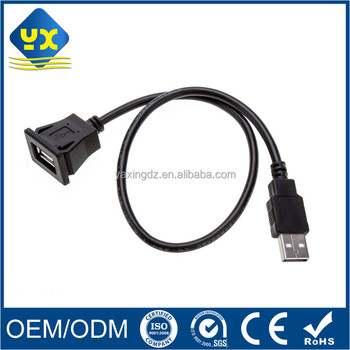Snap-in Single Usb 2.0 Tape A Female To Tape A Male Panel Mount ...