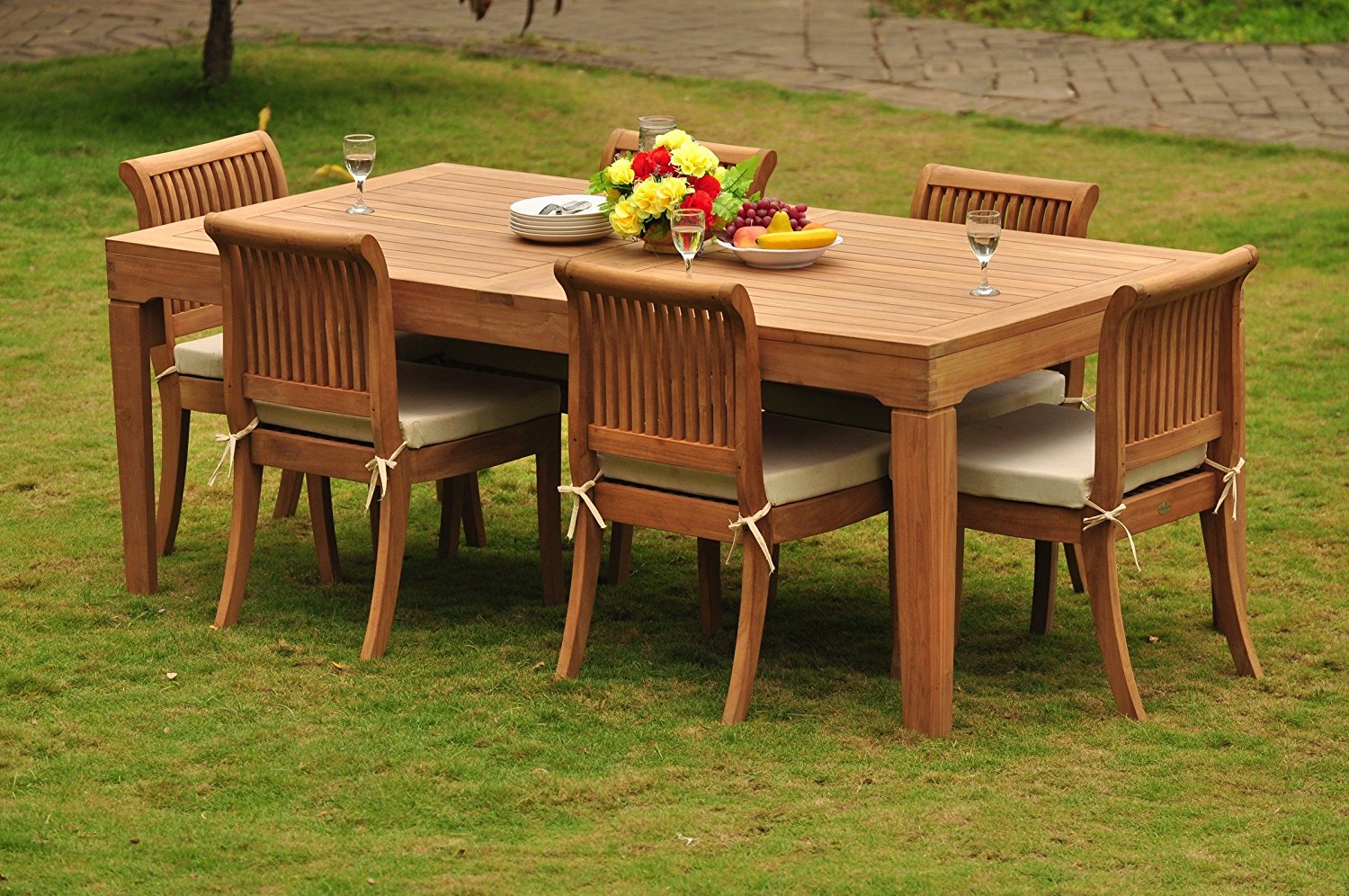 Buy Grade A Teak Wood Dining Set 6 Seater 7 Pc Large Caranasas 122 Dining Rectangle Table Table And 6 Giva Armless Chairs Wfdsgv58 In Cheap Price On Alibaba Com
