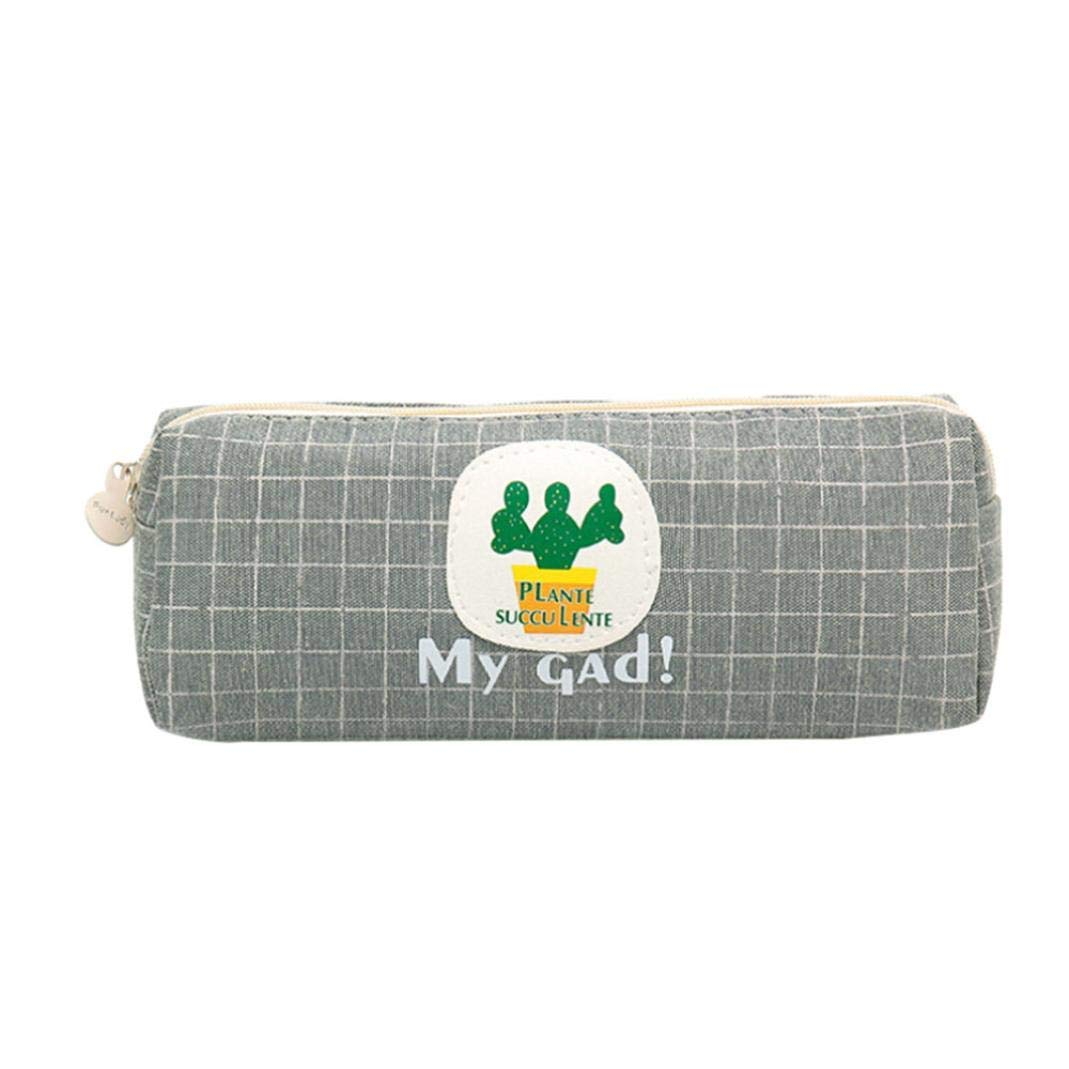 Gbell Cute Cactus Canvas Pencil Pouch Bags for Kids Girls,Women Cosmetic Makeup & Pen Bag, Storage Pouch Purse Students School Supplies,19x8x8 cm,Gray Gray Blue Coffee
