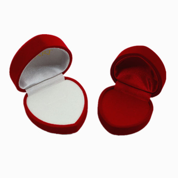 Red heart-shape velvet jewellery gift box available