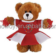 Plush Teddy Bear in Cheerleader Outfit logo custom stuffed bears in Cheerleader Outfit animal with bandana t-shirt ps010