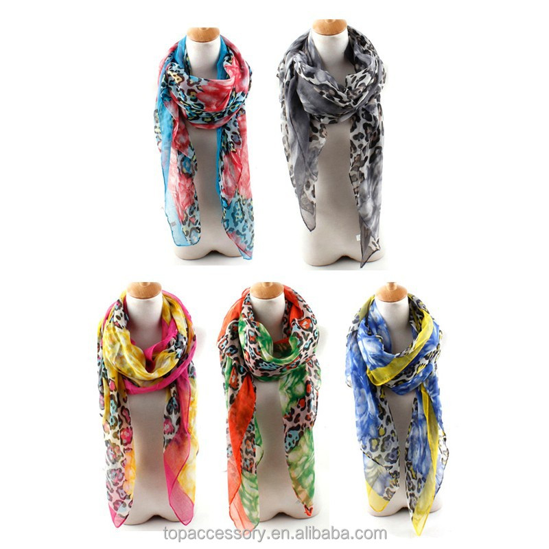 2015 new design fashion summer lady print voile scarf wholesale