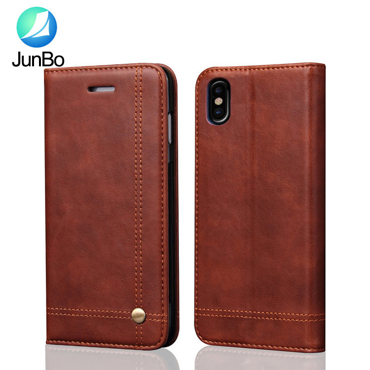 Emboss logo Newest phone <strong>accessories</strong> for Iphone 8 strong magnetic leather case with card slot