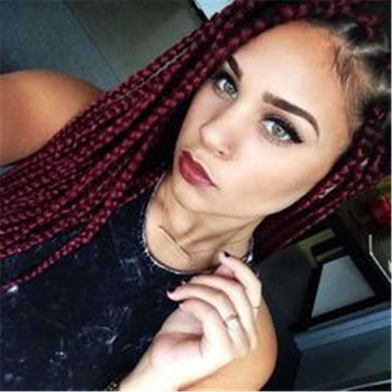 Eunic Box Braid Hair Single Color Synthetic Extension Hair With