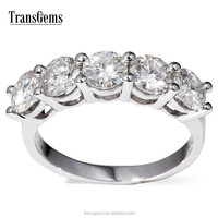 Genuine 14K 585 White Gold 5 Stones 2.5 Carat tcw GH Color Lab Grown Moissanite Diamond Matching Wedding Band Eternity Band