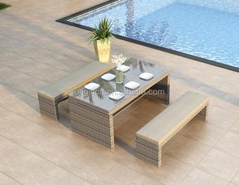 Mobili Da Esterno Per Piscina : Elegante rattan tavolo da giardino e panca mobili da pranzo per