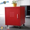 Bedside cupboard table cheap metal red nightstand with 4 wheels