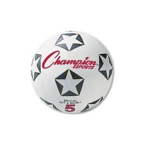 CHAMPION SPORT SRB4 Rubber Sports Ball, For Soccer, No. 4, White/Black
