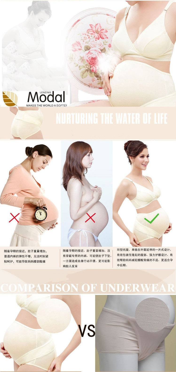 Modal High Waist Women Maternity Panty Support Abdomen Pregnant Underwear Plus Size