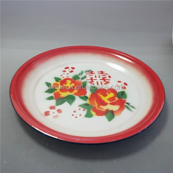 new plastic enamel colored round tray and old enamel round tray decor 30cm