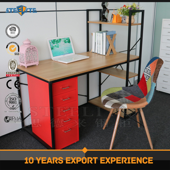 modern adult study table computer desk with storage shelf